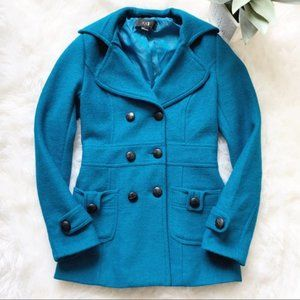 Forever 21 Teal Blue Wool Blend Pea Coat Size S